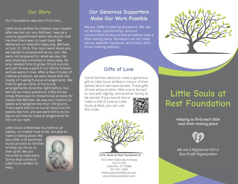 Little Souls At Rest Brochure Front Back