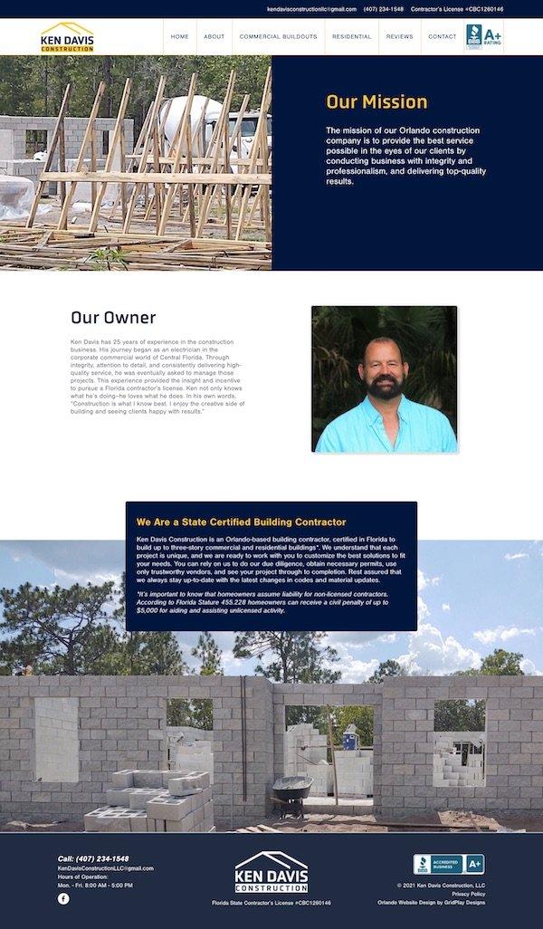 Ken Davis Construction About Page Layout