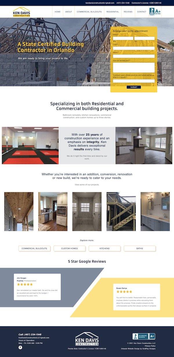 Ken Davis Construction Homepage Layout