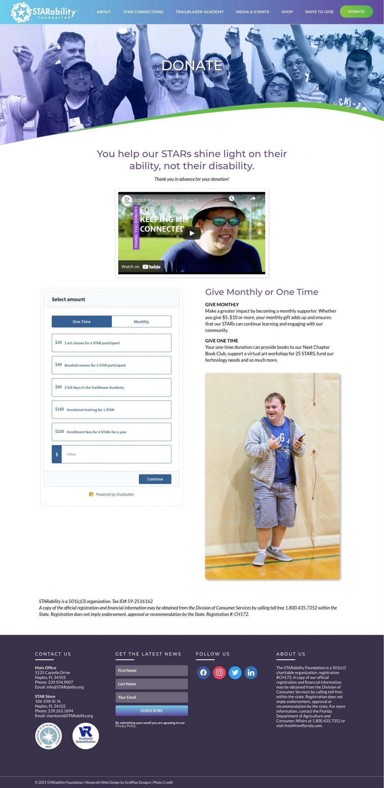 STARability Foundation Donate Page