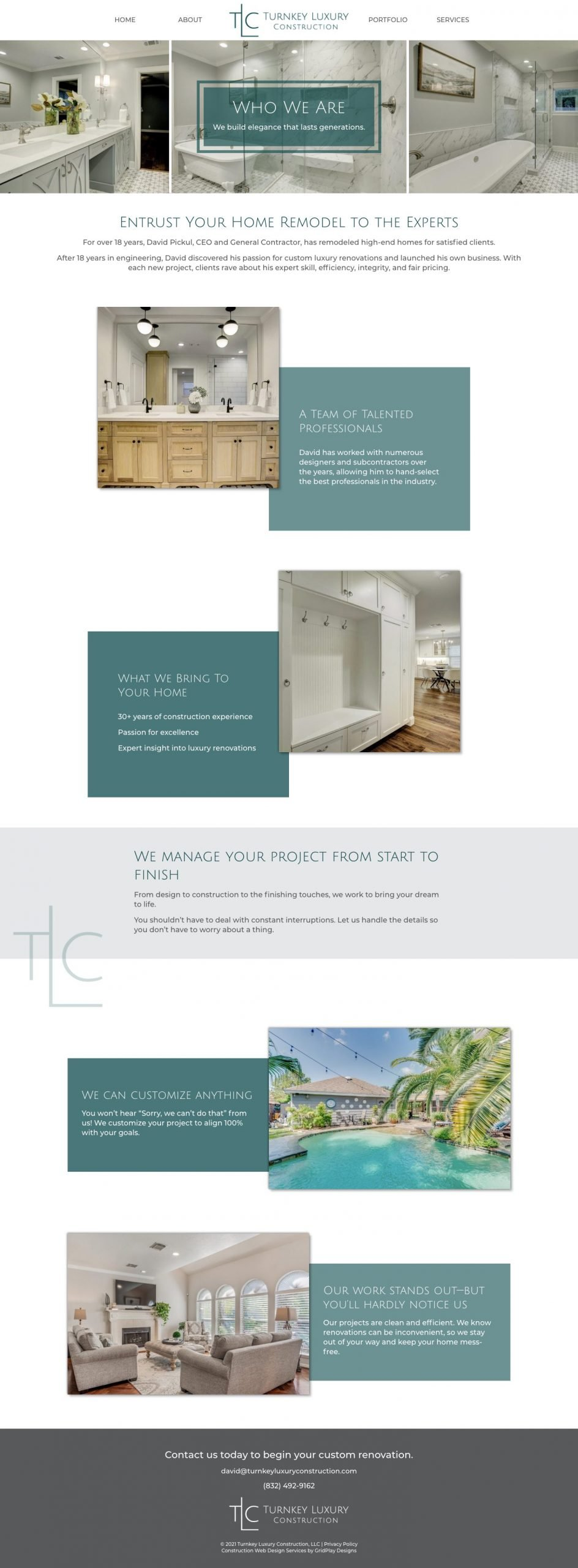 Turnkey Luxury Construction About page