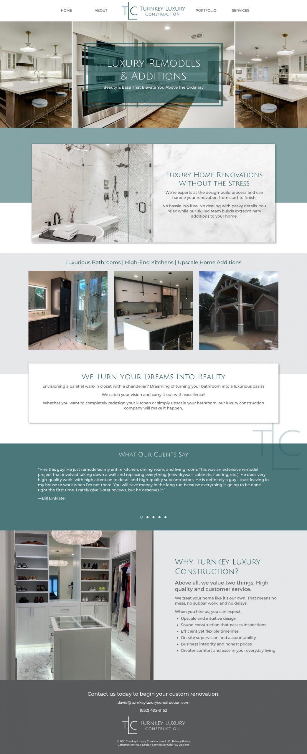 Turnkey Luxury Construction Homepage