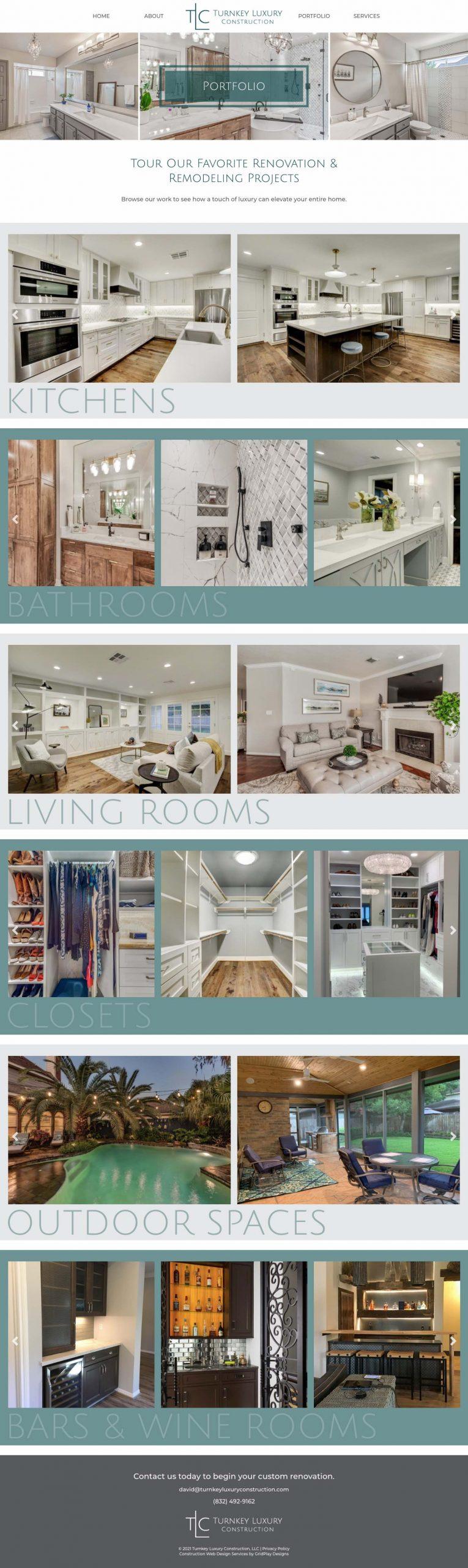 Turnkey Luxury Construction Portfolio Page